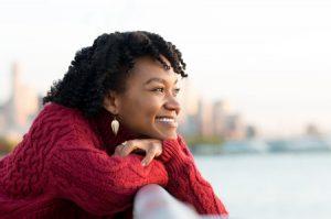 Hapyy Woman Looking at New City